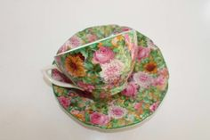 Vintage Crown Ducal Bone China Floral Chintz Tea Cup  Saucer Made in England