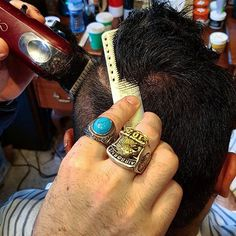 Cutting hair whilst wearing our too sellers. @brotherwolf_ wearing blue stone titanium ring and eagle titanium ring. Available online now 🙌