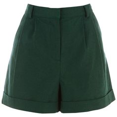 Warehouse High Waist Shorts (155 DKK) ❤ liked on Polyvore featuring shorts, bottoms, dark green, highwaist shorts, dark green shorts, pleated shorts, high waisted pleated shorts and tailored shorts