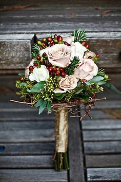 Winter Wedding Bouquet - roses and cranberries