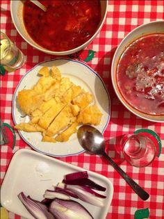 Bors ucrainean de sfecla rosie Romanian Food, Curry, Chicken, Meat, Ethnic Recipes, Hip Bones, Curries, Kai