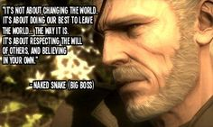 Naked Snake a.k.a. Big Boss (Metal Gear Solid) Last scene; beautifully written and animated (and for the love of god the MUSIC) but heartbreaking :(
