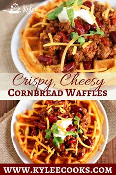 Crispy Cheesy Cornbread Waffles A fresh take on a traditional waffle, these Crispy Cheddar Cornbread Waffles are the perfect vehicle for chili, and so much fun to eat! Cheesy Cornbread, Cornbread Waffles, Savory Waffles, Pancakes And Waffles, Mexican Food Recipes, Beef Recipes, Cooking Recipes, Cooking Tips, Poffertjes