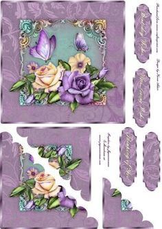 Heritage Roses Scallop Corner Stacker on Craftsuprint designed by Karen Adair - This is a 6 inch square card front with beautifulHeritage Roses and butterflies, in lovely purple. Scallop bottom left corner stackers layer up to give a pretty effect. Four sentiment tags are also included, one of which I have left blank for you. If you like this check out my other designs, just click on my name. - Now available for download!