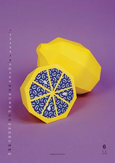 2014 Calendar - Each month is represented by a fruit with the number of the ongoing month.