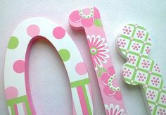 SALE...Custom Painted Wooden Nursery Letters featuring by PoshDots