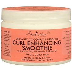 SheaMoisture is known for luscious-smelling, moisture-melting, and body-building hair and skin care line. The Curl Enhancing Smoothie enhances shine and protects against heat and breakage. The silk protein adds to the silkiness of the hair.