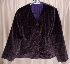 Dark purple floral velveteen jacket buttons Medium-Large *no labels*   #Unbranded #BasicJacket #Casual