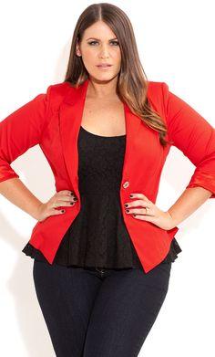 City Chic - ONE BUTTON JACKET - Women's plus size fashion