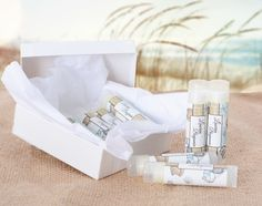 Give out these cute personalized lip balms at your seashore wedding! From LabelsRus