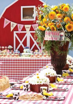 Barnyard Birthday Party with homemade barn backdrop, animal cake pops, straw bales as chairs, roped BBQ Menu and cowboy hat + bandana favors!