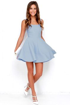 The Home Before Daylight Periwinkle Dress is the perfect party companion! Knit tank straps support a stunning bodice with a sexy square neckline and scoop back. Spring Formal Dresses, Simple Dresses, Casual Dresses, Fashion Dresses, Casual Homecoming Dresses, Freshman Homecoming Dresses, Skater Dresses, Dresses Dresses, Tight Hoco Dresses
