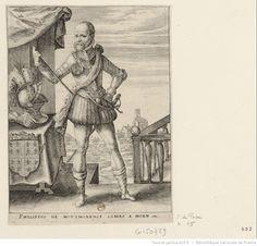 Portrait du comte de Horn, en pied. Crispin de Passe, début  XVII siècle