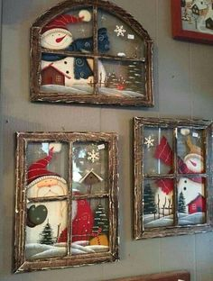 These Christmas window wall decor are adorable - Weihnachten - Natal Christmas Signs, Rustic Christmas, Christmas Art, Christmas Projects, Christmas Ornaments, Christmas Windows, Christmas Ideas, Christmas Christmas, Christmas Vacation