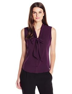 Calvin Klein Women's Top WovenColor: Aubergine 97% Polyester, 3% Spandex Solid color Tie neck