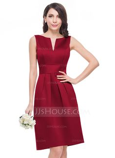 A-Line/Princess V-neck Knee-Length Zipper Up Regular Straps Sleeveless No Blushing Pink Spring Summer Fall General Plus Satin Bridesmaid Dress Fabulous Dresses, Nice Dresses, Casual Dresses, Short Dresses, Fashion Dresses, Dresses For Work, Formal Dresses, Satin Bridesmaid Dresses, Wedding Party Dresses