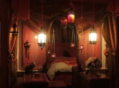 Love this Moroccan themed bedroom. Intimate and cozy.
