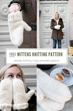 Mittens pattern free - Easy mittens knitting pattern by Handy Little Me - Make yourself some new mittens with this free and easy pattern that is perfect for beginners. Beginner Knitting Patterns, Chunky Knitting Patterns, Knitting Blogs, Knitting For Beginners, Loom Knitting, Crochet Patterns, Start Knitting, Free Knitting, Stitch Patterns