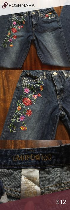 Floral Embroidered Bootcut Jeans, sz. 12 slim Beautiful girls jeans with bright floral embroidery on legs and gemstone accents. Size 12 slim, true to size with minimal stretch. Distressed look, bootcut, like new condition. Limited Too Bottoms Jeans