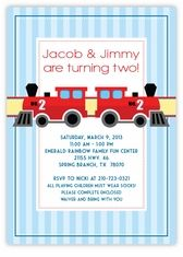 Classic Train Stripes Twins Birthday Invitation - CHOO CHOO, everybody loves trains, especially your TWO!  Have a train themed party, kick started by this classic locomotive personalized invitation. Custom Twins Birthday Invitations from the leader in Twins & Multiples stationery products - www.amyscardcreations.com - Cards as low as $1.15 - Thank you for shopping with me and supporting small business!