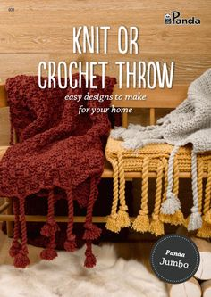 Panda Knit or Crochet Throw - Jumbo