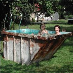 nice Cute Mini Dumpster Swimming Pool Amazing mini dumpster swimming pool made by the artist Louisa Dawson from a repurposed dumpster. Rubbish skip tilled with a swimming po.