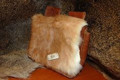 Viking bag pouch leather handmade with rabbit  fur