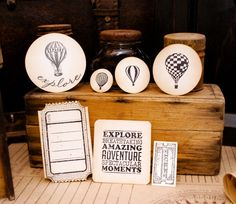 7 Piece Hot Air Balloon Theme Vintage Scrapbooking by VintageDye, $6.50