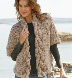 Hand Knit Wide Jacket with Cables Merino Wool Available in other color | tvkstyle - Knitting on ArtFire