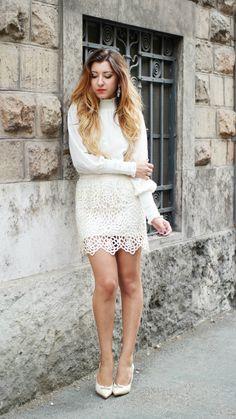 Look total white e sfumature alla crema total white
