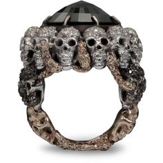 Gold and Diamond Skull Ring Delfina Delettrez ($51,510) ❤ liked on Polyvore featuring jewelry, rings, accessories, gold jewellery, gold skull ring, diamond rings, black and white gold rings and black and white jewelry