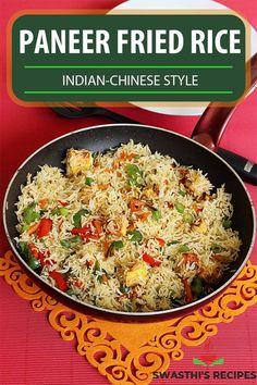 Paneer fried rice is an Indian-Chinese fried rice variety made with rice, paneer (Indian cottage cheese), mixed vegetables, spices and soya sauce. I share 2 ways to make paneer fried rice in this post. Fried rice is a comfort food for a lot of us and love to have it often. This paneer fried rice is one of those dishes I have made more often than the regular vegetable fried rice just to keep the meal more interesting for my kids. I guess every kid loves paneer & so do mine. Easy Paneer Recipes, Rice Recipes, Vegetarian Recipes, Dinner Recipes, Cooking Recipes, Indo Chinese Recipes, North Indian Recipes, Indian Food Recipes, Ethnic Recipes
