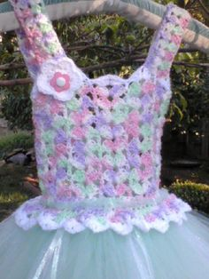 Tutu Dress Handmade/Crocheted in Sorbet Colors.