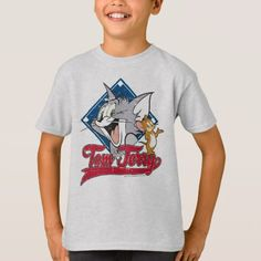 Tom And Jerry in a cute distressed design in front of a baseball diamond with sporty font. Diamond T Shirt, Running Tank Tops, My Tom, Tom And Jerry, Yoga Tops, Kids Shirts, Fitness Models, Unisex, Casual