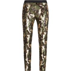 BCBGMAXAZRIA Dena Camo Sequined Leggings ($249) ❤ liked on Polyvore featuring pants, leggings, bottoms, trousers, elastic waist pants, camoflauge leggings, stretch waist pants, pull on pants and sequined leggings