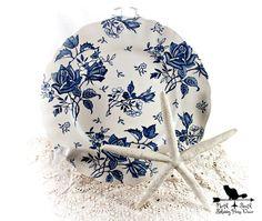 Blue Tudor Roses Dinner Plate, J & G Meakin Vintage Blue Transferware, Shabby Tableware, Downton Abbey Inspired Decor