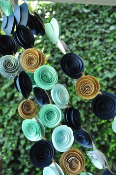 Wedding Garland Paper Flower Garland Mint Navy Gold by lillesyster