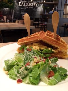 waffle sandwish with ceasar salad | eatdustry thonglor