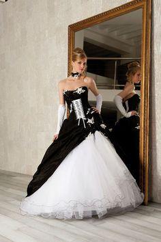 Robe mariee noir blanc