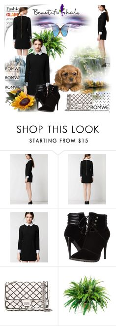 """""""ROMWE - Contrast Collar Zipper Back Shirt Dress"""" by pantarei85 ❤ liked on Polyvore featuring C Label, Chanel and romwe"""