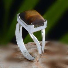 925 SOLID STERLING SILVER YELLOW TIGER EYE RING 3.24g DJR10613 SZ-8 #Handmade #Ring