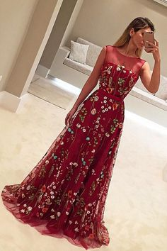 A-Line Crew Sweep Train Flower Print Burgundy Tulle Prom Dress with Belt