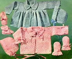 Vintage Take Baby Home BO-PEEP SET (mint green), Miss Muffet ( pink) Jackets and Bonnets free crochet pattern, Size 1,2,3