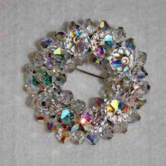 Vintage Aurora Borealis Faceted Crystal Brooch.
