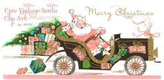 Free Vintage Shabby Pink Santa Clip Art