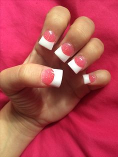 acrylic nails. pink and white.