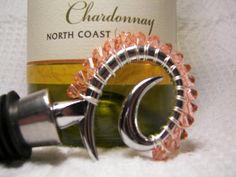 Wine Stopper Padparadscha Swarovski Crystal by GagaGems on Etsy, $15.00