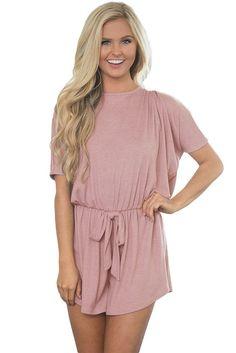 Womens Short Sleeve Lilac Dolman Romper https://www.modeshe.com #modeshe @modeshe #Pink