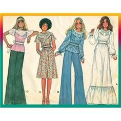70s Boho Hippie Dress or Top McCall's Sewing Pattern 4872 Sz 16,