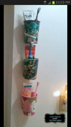 Perfect way to organize your kids tooth brushes, just use velcro!